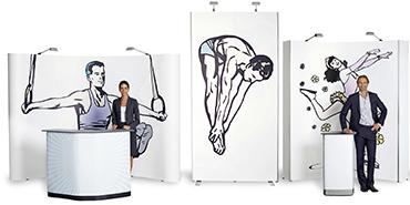 Tragbare, widerstandsfähige Pop-Up Displays in verschiedensten Größen und Formaten.
