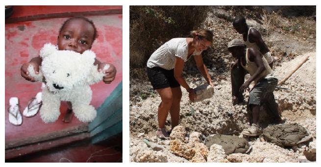 Baby wird versorgt, eine Frau hilft beim Bau eines Waisenhauses in Likoni.