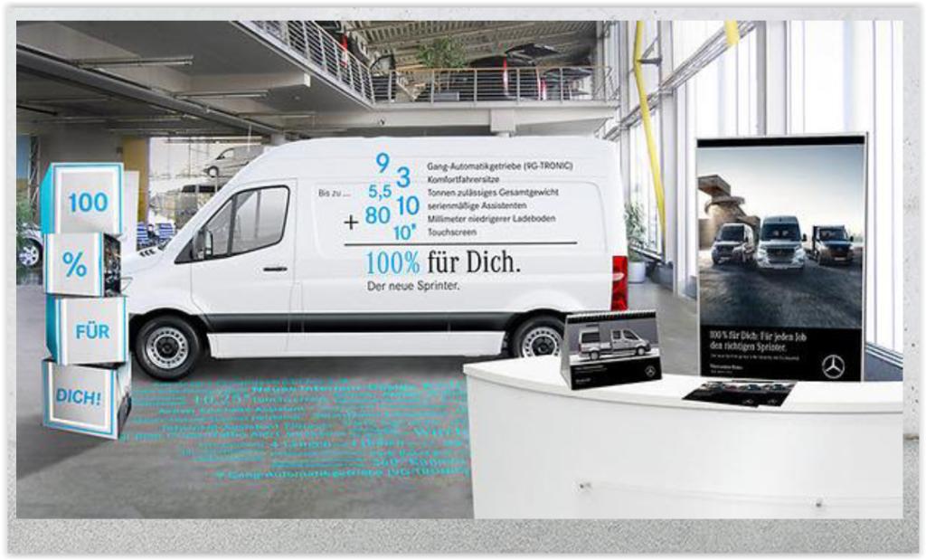 Der neue Mercedes-Benz-Sprinter am POS, in Szene gesetzt von Fairplay Service.